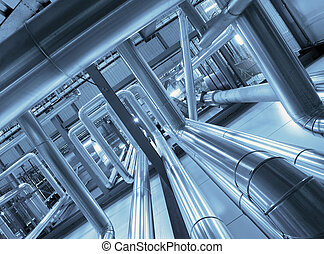 Industrial zone, Steel pipelines and cables in blue tones