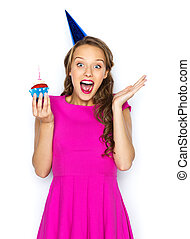 happy woman or teen girl with birthday cupcake - people,...