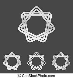 Silver line star logo design set - Silver line star symbol...