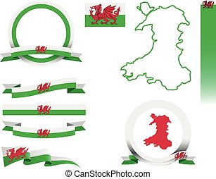 Wales Banner Set - Set of vector graphic ribbons and banners...