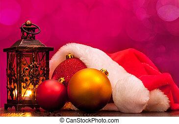 Santa hat and Christmas balls - Santa hat, candle lantern...