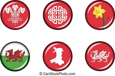 Wales Glossy Icon Set - Set of vector graphic glossy buttons...