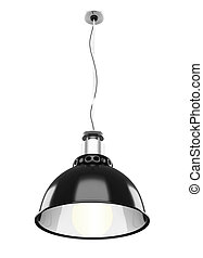 Metal ceiling lamp isolated on white background. 3d.