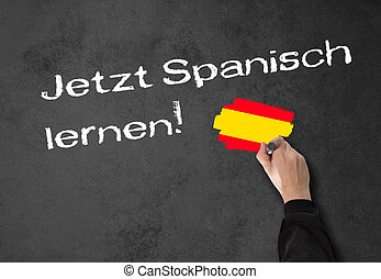 "Learning Spanish now! - Man, teacher writes ""Learning..."