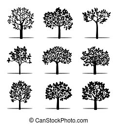Set of Black Apple Trees. Vector Illustration.