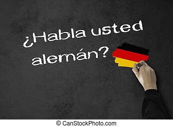 Do you speak German - Business Man writes in spanish, (Do...
