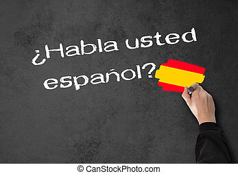 Do you speak Spanish - Business Man writes in spanish, (Do...