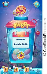 Sweet world mobile GUI level completed screen for video web game