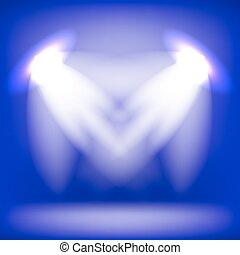 Two Spotlights Isolated on Blue Background