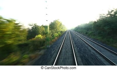 Railway motion view - Train journey point of view