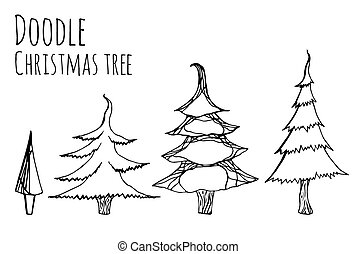 set of hand-drawn  Christmas trees