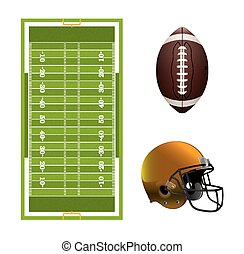 American Football Field, Ball, and Helmet Elements - A set...