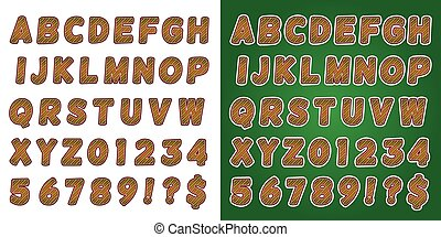 Christmas Candy Cane Green Alphabet Letters and Numbers - A...
