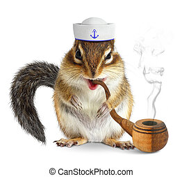 Funny animal sailor, squirrel with tobacco pipe and mariner...