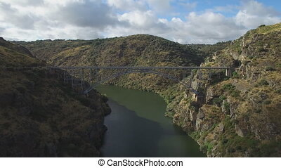 Aerial view of iron bridge over canyon in Zamora, Spain -...
