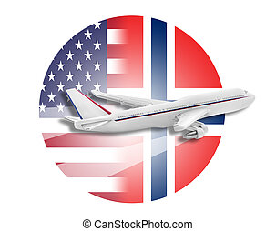 Plane, United States and Norway flags. - Plane on the...