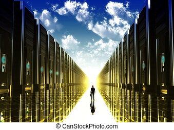 the gate of new technology - Computer illustration of a...