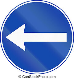 Norwegian mandatory direction sign - Turn left