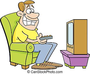 Family Watching Old Tv Clip Art Clipart Vector Design