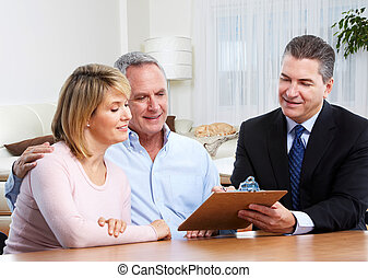Senior couple with real estate agent. - Senior couple with...