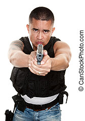 Tough Cop Pointing Gun - Tough Latino Cop Pointing Pistol at...