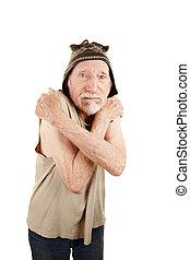 Elderly man in knit cap