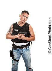 Hispanic Cop Holding Gun
