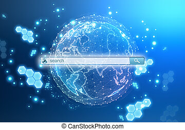Globe planet with a search string in the Internet.