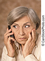 worried elderly woman - Portrait of worried elderly woman...