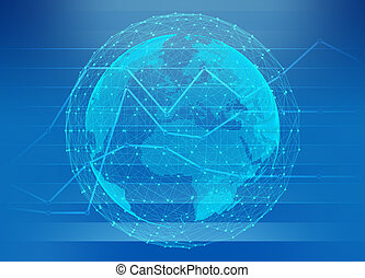 Globe world map network connection on chart abstract background