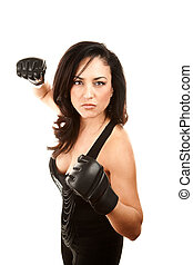 Pretty Latina Woman with Boxing Gloves