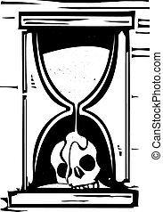 Skull Hour Glass - Woodcut style image of an hour glass with...
