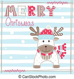 Christmas greeting carg with cute deer