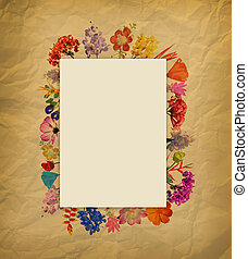 Arrangement Watercolor flower frame on brown paper...