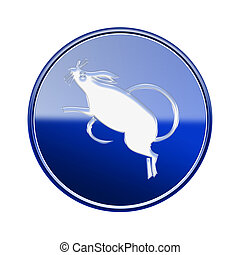 Rat Zodiac icon blue, isolated on white background.