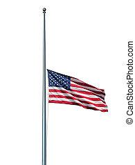 旗, マスト, 隔離された, 私達, 半分