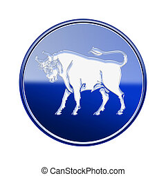 Taurus zodiac icon blue, isolated on white background