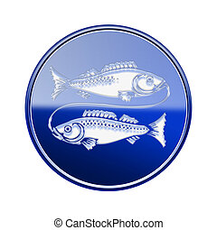 Pisces zodiac icon blue, isolated on white background
