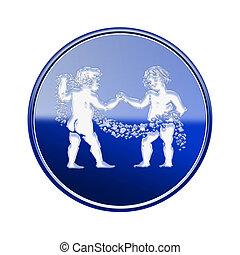 Géminis, zodíaco, icono, azul, aislado, en,...