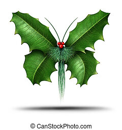 Magical Holiday Holly Butterfly - Magical holiday or...