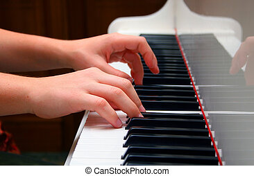 pianist - Hands of the musician playing on the piano