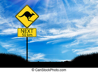 Silhouette of a kangaroo road sign