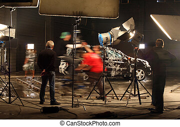 In a film studio - The film crew works on creation of a...