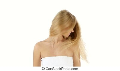 lovely woman in towel wave of hair, bathroom - white...