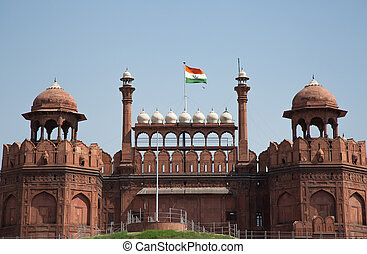 Red Fort, UNESCO world Heritage Site, Delhi, India - Red...