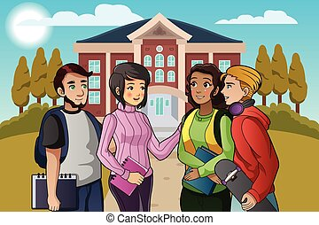 College Students Talking on Campus - A vector illustration...