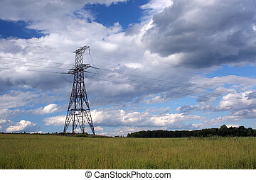 Electric Infrastructure - Electricity pylons on a background...