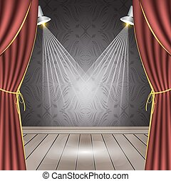Theater stage with red curtain, wooden floor, spotlights and seamless wallpaper.