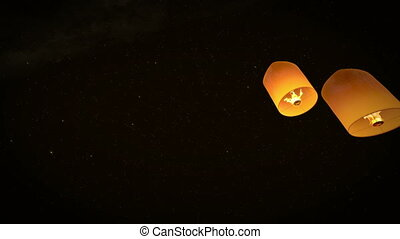 beautiful 3d animation lead couple Lanterns flying in night...