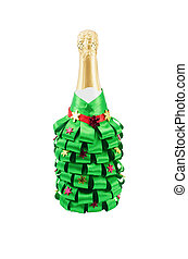 bottle of champagne, decorated for the new year holiday